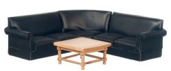 "4-Pc. Contemporary Black ""Leather"" Living Room Set"