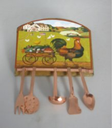 Utensil Rack with Rooster Pulling a Farm Cart