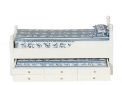 Trundle Bed, White with Blue and White Fabric