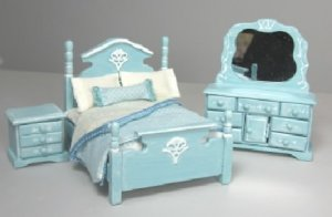 "1/2"" Scale Bedroom set in Blue with White Highlights"