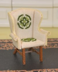 "1/2"" Scale Cross-Stitched Wing Chair, signed ""Johnston"""