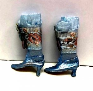 Fancy Victorian Boots, Blue