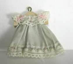 Infant's Blue Silk and Lace Dress on Hanger