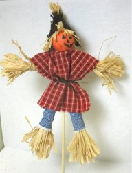 Scarecrow in Red Plaid Shirt