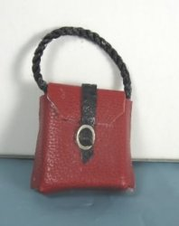 Red Leather Purse with Black Strap