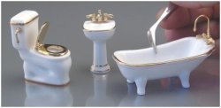 Half Inch Scale White Porcelain Bathroom Set
