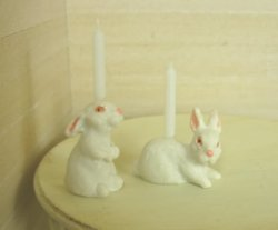 Rabbit Candlesticks, Pair, from Rose Cottage Collection
