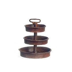 3-Tier Metal Tray, Rusty Finish