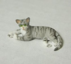 Half-Inch Scale Cat, Gray, Lying down