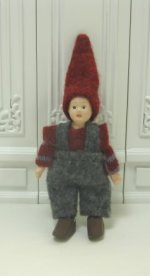 Gnome Boy in Woolen Overalls and Red Sweater