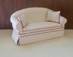 Ashley Sofa in White with Red Dots
