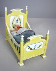 Quimper Style Crib with Sleeping Baby
