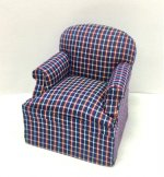 Casual Easy Chair, Blue & Burgundy Plaid