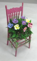 Pansies on Chair, Pink