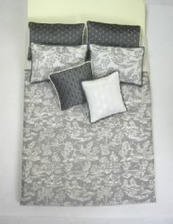 Double Bed Set, Gray Toile and Silk Accents