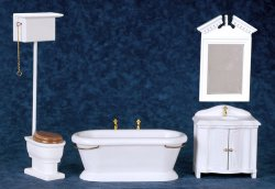 Old Fashioned White Bathroom Set, 4 Piece