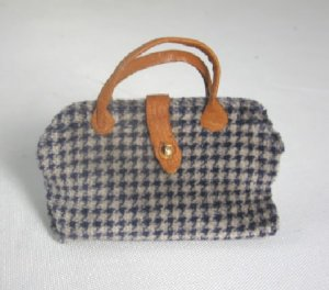 Carpet Bag, Blue and Tan Checks