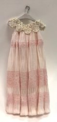 Pink Nightgown with Lace Neck on Wooden hanger