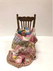 Rocking Chair with Quilt in Progress, Shades of Pink