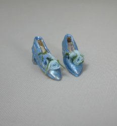 Blue Pumps with Flowers