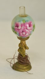 Victorian Table Lamp with Floral Globe by Ni-Glo Miniatures