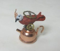 Classic Tea Bird, Found Object Art