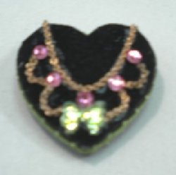 Necklace with Green Butterfly and Pink Stones on Velvet Display