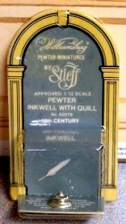 Stieff Pewter Inkwell with Quill Pen, NIB