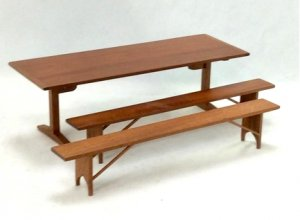 Shaker Long Dining Table with Two Benches