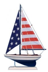 Wooden Model Salier Sailboat with USA Flag Sails