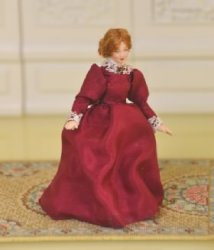 "1/2"" Scale Doll, Woman in Burgundy Dress by Loretta Kasza"