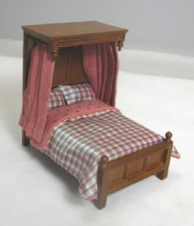 "1/2"" Scale Half Canopy Bed with Silk Plaid Dressing"