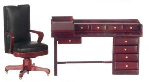 Desk and Chair Set, Mahogany Finish