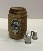 Heineken Beer Keg with Filled Mugs