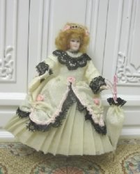 "1/2"" Scale Doll, Woman in White Gown"