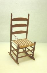 Shaker Ladderback Rocking Chair with Tan & White Woven Seat