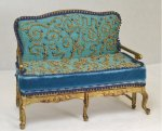 Gold Settee with Blue Upholstery, Beaded Detail by Julie Stewart