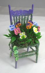 Pansies on Chair, Purple