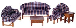 Six Piece Plaid Living Room Set, Walnut Finish