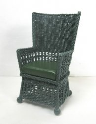 Square Wing Chair with Leather Seat, Green