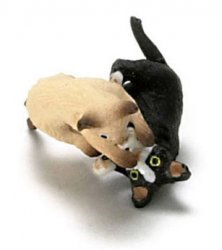 "1/2"" Scale Cats or 1"" Scale Kittens Playing, Siamese & Black"
