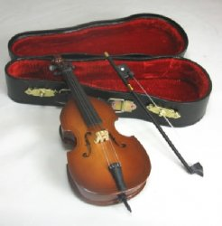 Wooden Bass with Bow and Case