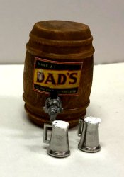 Dad's Root Beer Keg and Two Filled Mugs
