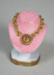 Necklace on Pink Velvet Display