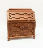 Verona Low Secretary Desk, Walnut Finish