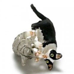 "1/2"" Scale Playing Kittens, Black with White & Gray Tiger"