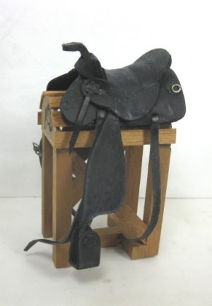 Aged Western Saddle, Black