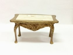 Gold Carved Table with Genuine Marble Top
