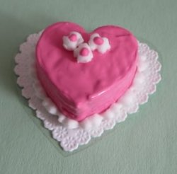 Pink Iced Heart Cake