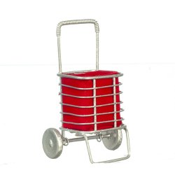 Silver Grocery Cart with Red Liner